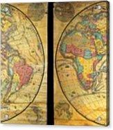 1858 Set Of Two Pelton Wall Maps, Western Hemisphere And Eastern Hemisphere  Acrylic Print