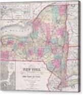 1858 Smith - Disturnell Pocket Map Of New York Acrylic Print