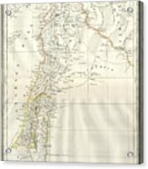 1859 Alabern Map Of Israel, Palestine, Or Holy Land And Syria In Ancient Times Acrylic Print