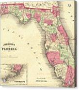 1864 Florida Map Color Acrylic Print