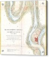 1865 Uscs Map Of The Mississippi River From Cairo Illinois To St Marys Missouri  Acrylic Print