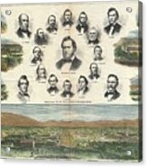 1866 Harpers Weekly View Of Salt Lake City Utah W Brigham Young Mormons Acrylic Print