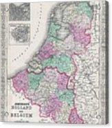 1866 Johnson Map Of Holland And Belgium Acrylic Print