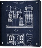 1877 Bottling Machine Patent - Navy Blue Acrylic Print