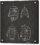 1878 Baseball Catchers Mask Patent - Gray Acrylic Print by Nikki Marie Smith