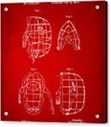 1878 Baseball Catchers Mask Patent - Red Acrylic Print by Nikki Marie Smith