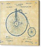 1881 Velocipede Bicycle Patent Artwork - Vintage Acrylic Print