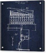 1884 Bottling Machine Patent - Navy Blue Acrylic Print