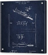 1885 Tuning Fork Patent - Navy Blue Acrylic Print