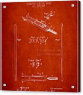 1885 Tuning Fork Patent - Red Acrylic Print