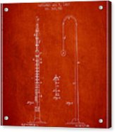 1887 Metronome Patent - Red Acrylic Print