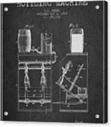 1888 Beer Bottling Machine Patent - Charcoal Acrylic Print