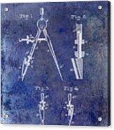 1888 Draftsmans Compass Patent Blue Acrylic Print