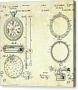 1889 Stop Watch Patent Art Sheets 1-2 Acrylic Print