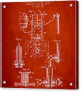 1890 Bottling Machine Patent - Red Acrylic Print