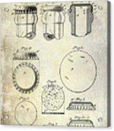 1892 Bottle Cap Patent  Acrylic Print