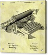 1896 Typewriter Patent Acrylic Print
