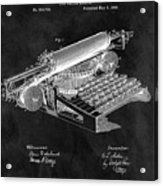 1896 Typewriter Patent Illustration Acrylic Print