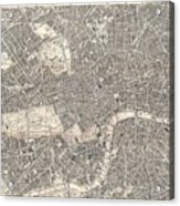 1899 Bacon Pocket Plan Or Map Of London  Acrylic Print