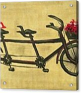 18x36 Premium Gallery Tandem Bicycle Painting With Red Birds Red Flowers Acrylic Print