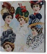 19 Century Ladies Hats The Delineator Early Autumn Hats Acrylic Print