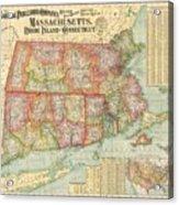 1900 National Publishing Railroad Map Of Connecticut Massachusetts And Rhode Island  Acrylic Print