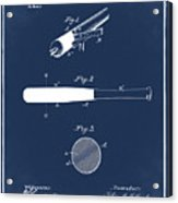 1902 Baseball Bat Patent In Blue Acrylic Print