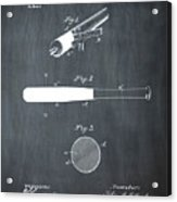 1902 Baseball Bat Patent In Chalk Acrylic Print