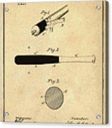 1902 Baseball Bat Patent In Sepia Acrylic Print