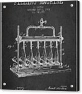 1903 Bottle Filling Machine Patent - Charcoal Acrylic Print