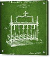 1903 Bottle Filling Machine Patent - Green Acrylic Print