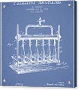 1903 Bottle Filling Machine Patent - Light Blue Acrylic Print