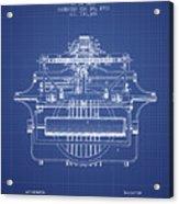 1903 Type Writing Machine Patent - Blueprint Acrylic Print