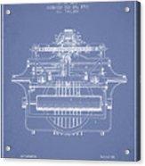 1903 Type Writing Machine Patent - Light Blue Acrylic Print