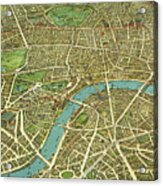 1908 London Vintage Map Poster Acrylic Print