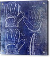 1910 Baseball Glove Patent Blue Acrylic Print