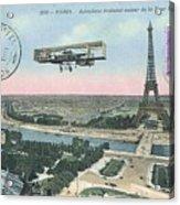 1911 Paris Eiffel Tower Colorized Postcard Acrylic Print