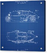 1917 Racing Vehicle Patent - Blueprint Acrylic Print