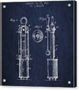1920 Tuning Fork Patent - Navy Blue Acrylic Print