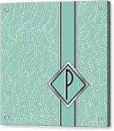 1920s Blue Deco Jazz Swing Monogram ...letter P Acrylic Print