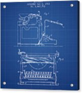 1923 Typewriter Screen Patent - Blueprint Acrylic Print