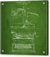 1923 Typewriter Screen Patent - Green Acrylic Print