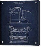 1923 Typewriter Screen Patent - Navy Blue Acrylic Print