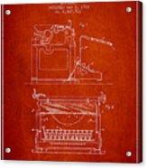 1923 Typewriter Screen Patent - Red Acrylic Print
