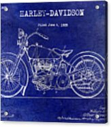 1928 Harley Davidson Patent Drawing Blue Acrylic Print