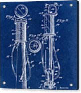 1930 Gas Pump Patent In Blue Acrylic Print