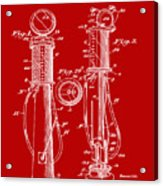 1930 Gas Pump Patent In Red Acrylic Print