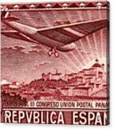1931 Airplane Over Madrid Spain Stamp Acrylic Print