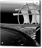 1934 Plymouth Hood Ornament Black And White Acrylic Print