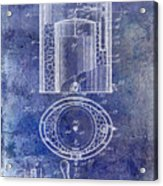 1935 Beer Equipment Patent Blue Acrylic Print